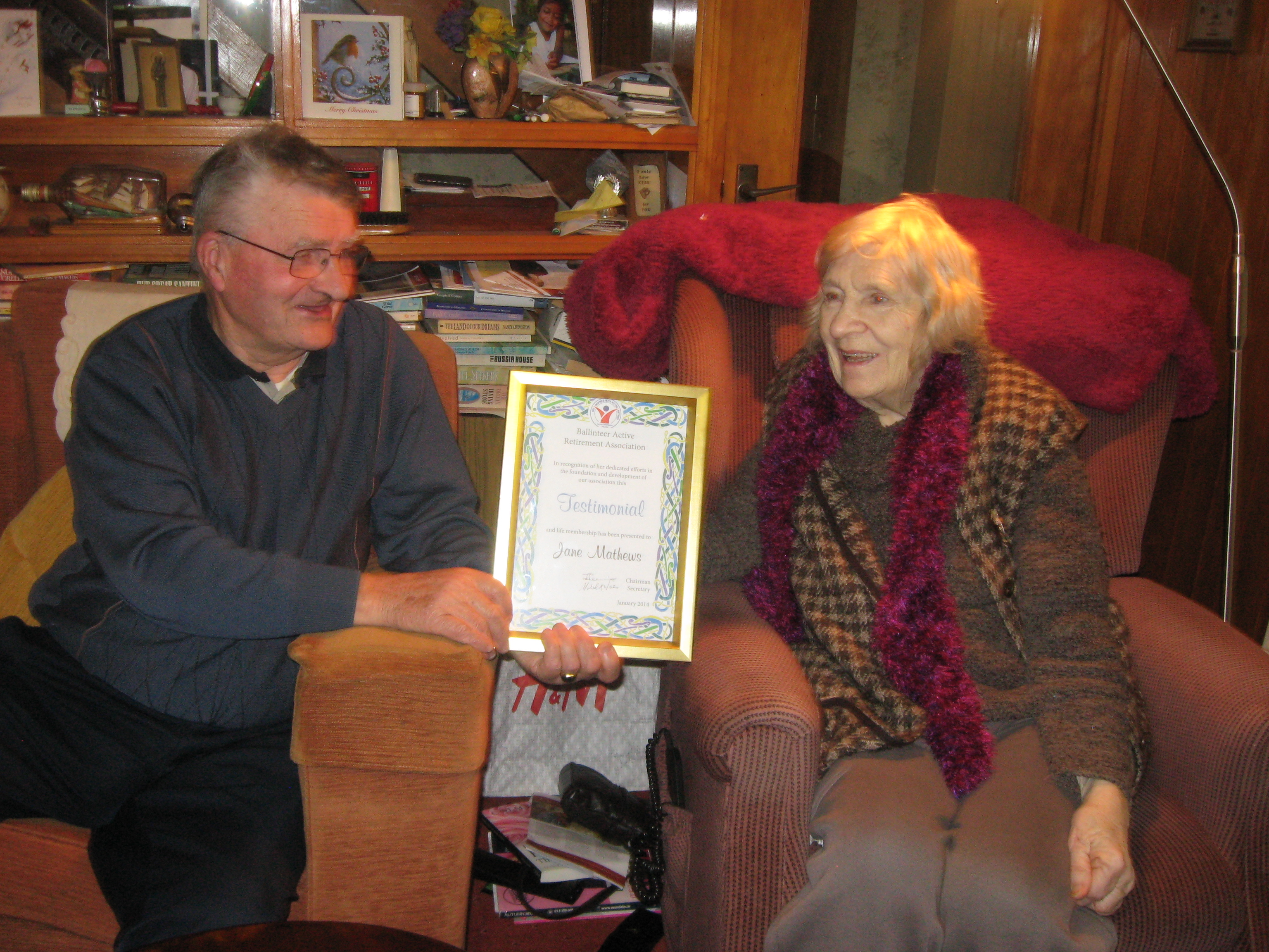 Presentation of Testimonial to Jane Mathews
